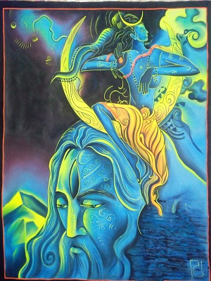 UV Glow Painting Lord Shiva with Baba